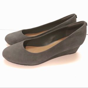 Clark's Artisan Vendra Bloom Gray Suede Wedges